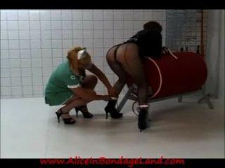 Lesbian prison nurse straitjacket spanking humiliation femdom tmb